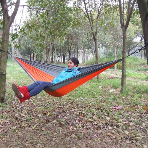 Details about  /Lixada Durable Compact Nylon Fabric Camping Hammock Two Persons Orange-Grey M5O3