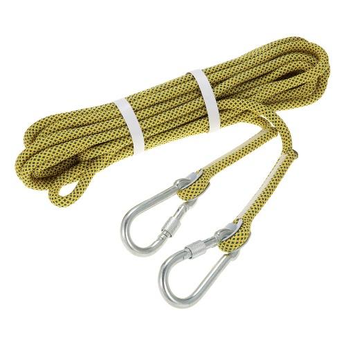Docooler 10,5 millimetri * 10m Discesa in corda doppia corda esterna di protezione professionali del Rock Climbing Rope Cord Speleologia Rappelling sopravvivenza ausiliario Cavo Climbing Equipment con moschettone