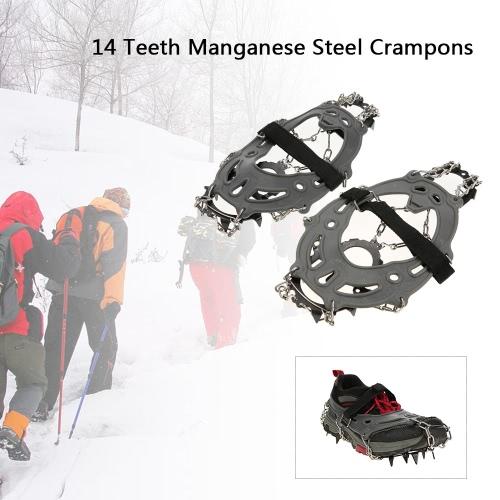 14歯マンガン鋼アイゼンナイロンストラップノンスリップシューズカバー屋外スキーアイススノー・デバイス・ハイキング