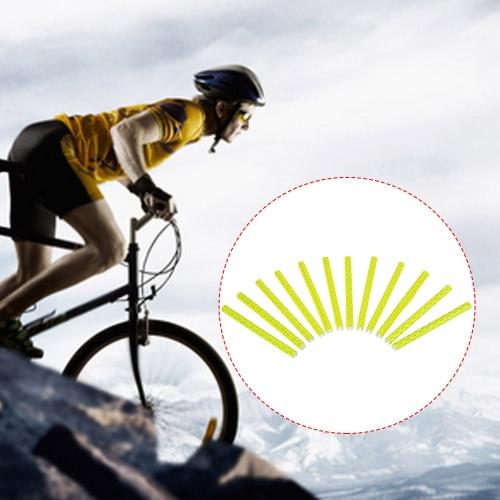 12PCS della bici della bicicletta della rotella raggi riflettenti Sticks tubo di sicurezza in bicicletta Spoke Wheel clip Riflettore riflettente di sicurezza del tubo della bicicletta della decorazione della luce 75 millimetri