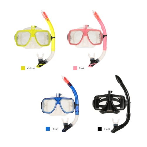 Professional Diving Silicone Mouthpiece Snorkel & Tempered Glass Mask Set with Action Camera Mount f
