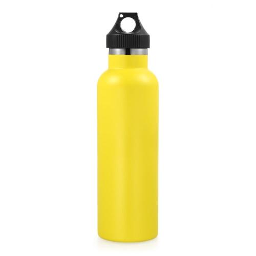 750 мл / 26 унций Бутылка воды из нержавеющей стали Двойная стеновая вакуумная изоляционная металлическая бутылка с водой Прогулка или тренажерный зал BPA Free с крышкой для защиты от утечек Держит напитки горячими или холодными