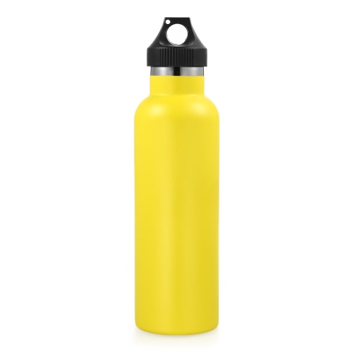 750ml / 26oz Botella de agua de acero inoxidable Botella de agua de metal aislada con vacío de doble pared Viajes o gimnasio BPA libre con tapa de prueba de fugas Mantiene bebidas calientes o frías