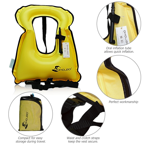 Inflatable Swim Vest Life Jacket for Snorkeling Floating Device Swimming Drifting Surfing Water Sports Life Saving