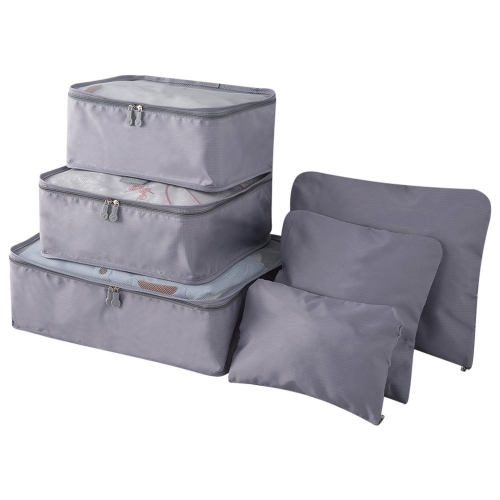 6pcs / set Легкие сумки перемещения багажа Мужчины и женщины Упаковывая кубики Органайзер компрессионных мешков Мода двойной молнии Водонепроницаемый мешок из полиэстера Сумка (голубой)