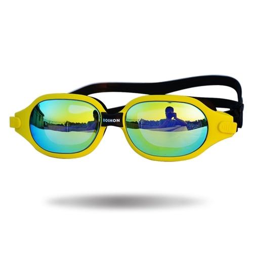 Gafas de natación Antivaho Protección UV irrompible Gafas de agua de vidrio de natación ajustable con caja Gel de sílice Gafas antiniebla de baño de gran marco Vidrio anti-UV con correa ajustable