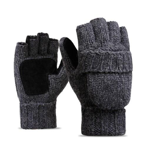 Flip Knitted Mittens Warm Wool Gloves