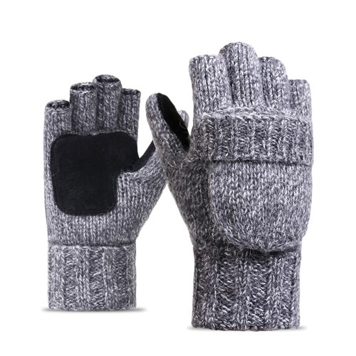 Flip Knitted Mittens Warm Wool Gloves