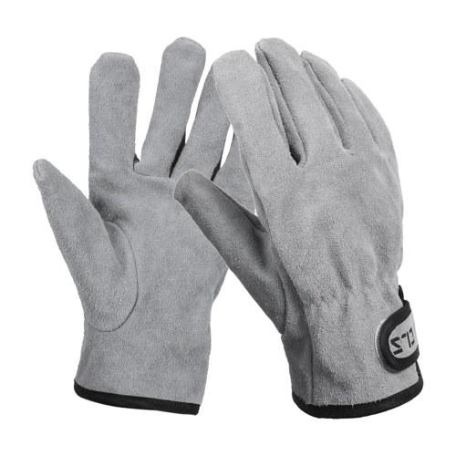Походные перчатки Перчатки из воловьей кожи Термостойкие / огнестойкие варежки Теплые уличные перчатки для печи для барбекю и камина