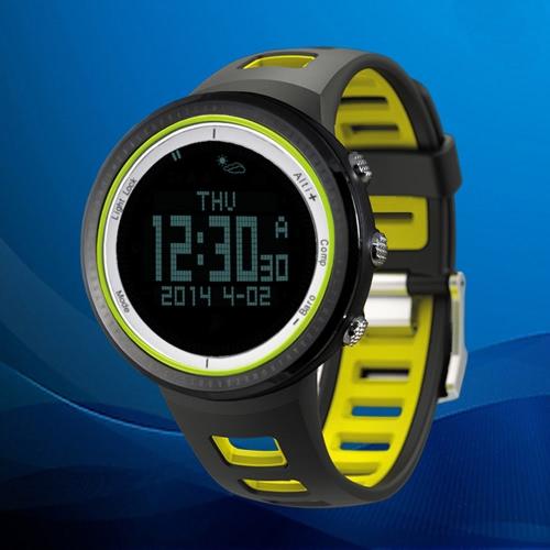 SUNROAD FR800NB 5ATM Reloj Deportivo al Aire Libre Podómetro Cronógrafo Altímetro Barómetro Termómetro Brújula Pantalla LCD Retroiluminación Impermeable Multifunción (Negro)