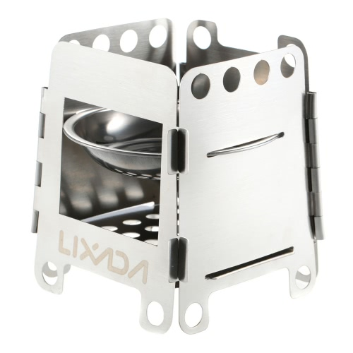 Lixada Portable Stainless Steel Lightweight Folding Wood Stove Pocket Alcohol Stove Outdoor Cooking Camping Backpacking