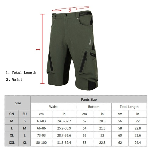 Arsuxeo Baggy Shorts Cycling Bicycle Bike MTB Pants Shorts Breathable Loose Fit Casual Outdoor Cycling Running Clothes Polyamide Lycra with Zippered Pockets Image