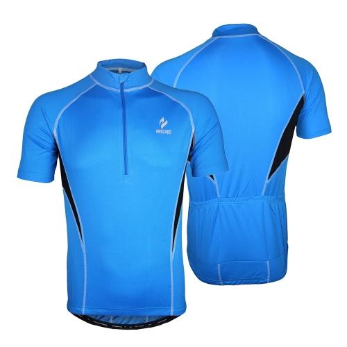 Arsuxeo自転車夏用 通気性  ショート スポーツウェア サイクルジャケット スポーツジャージ  布ジッパー 速乾性 吸汗性 高弾性 ポケット付き メンズ対応