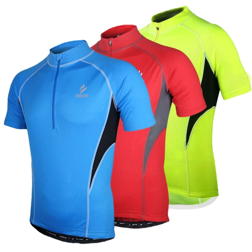Arsuxeo Men Short Sleeve Cycling Jersey Bike Outdoor Summer Sportswear Tops Cloth Zippered Breathable with Rear Pockets