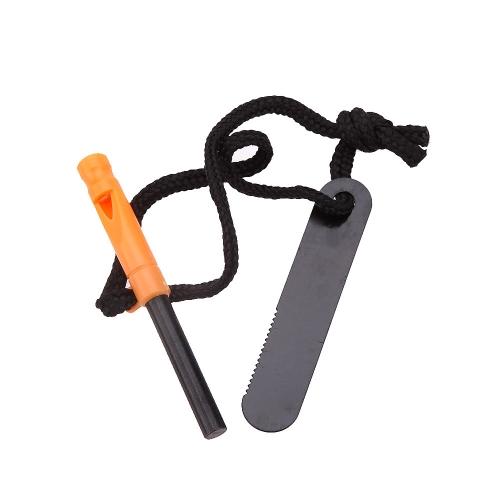 Outdoor Portable Water Resistant Travel Whistle Emergency Survival Magnesium Stone Tooth Scraper Flint Fire Starter Lighter Maker Kit