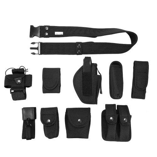 Lixada Tactical Police Security Guard Equipment Duty Utility Kit Belt with Pouches System Holster Outdoor Training Black