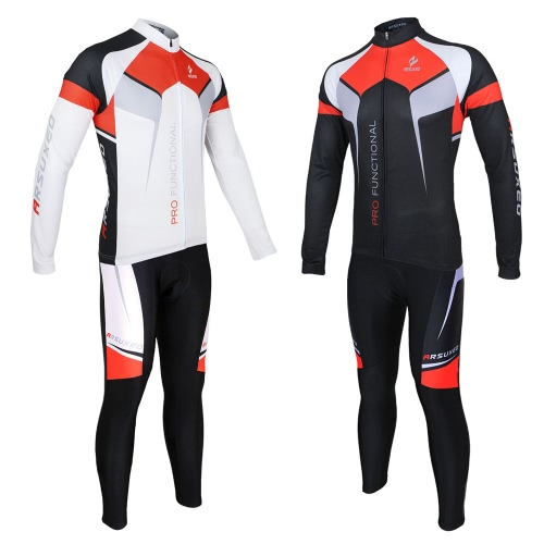 ARSUXEO Spring Autumn Cycling Clothing Set Sportswear Suit Bicycle Bike Outdoor Long Sleeve Jersey + Pants Breathable Quick-dry Men Image