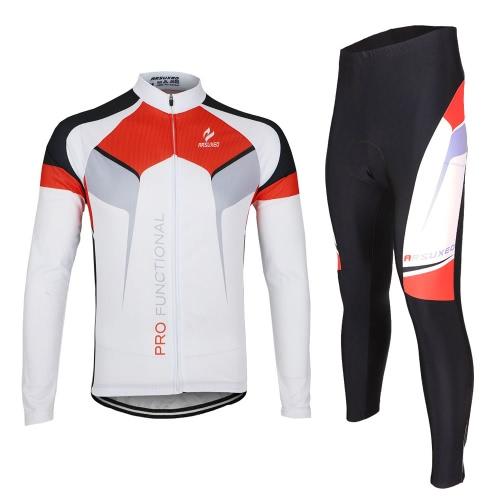 Lixada Cojunto de Ropa Bicicleta Traje Deporte para Ciclismo al Aire Libre Jersey de Manga Larga + Pantalones Respirable Secado Rápido Primavera y Otoño Hombre (S + Blanca)