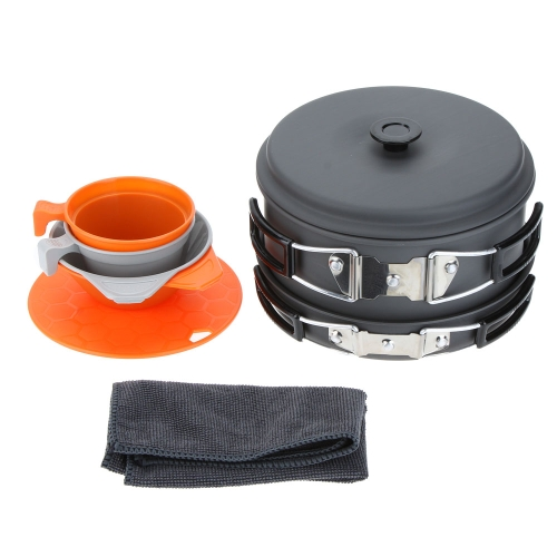 ALOCS 3-4 People Portable Camping Pots+Pan+Bowls+Cups+Cutting Board Picnic Outdoor Cooking Cookware Set Aluminum