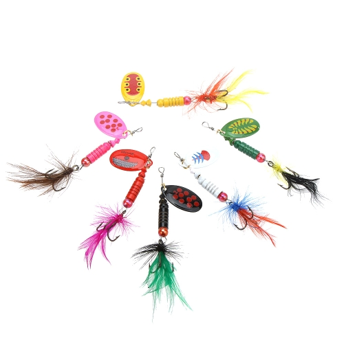 6Pcs 8.5cm 5g Hard Fishing Lures Spoon Sequin Paillette Baits with Feather Treble Hook Set Tackle