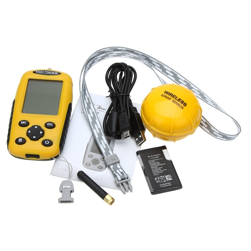 Lixada Dot-Matrix LCD wiederaufladbare Wireless  Fish Finder Angeln Tiefe Sonar Sensor Alarm Transducer