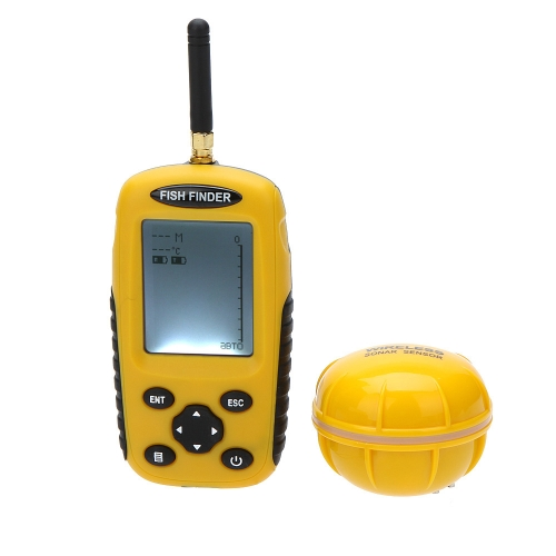 Dot Matrix LCD Rechargeable Wireless Portable Fish Finder Fishing Depth Sonar Sensor Alarm Transducer