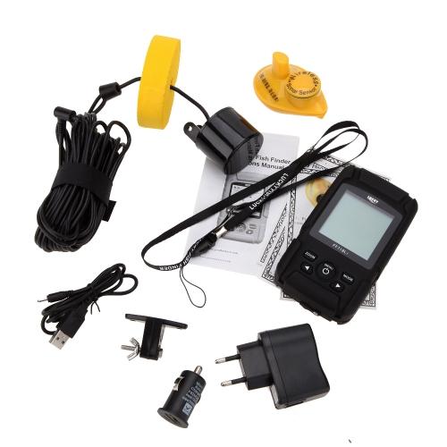Resistente all'acqua portatile LCD fishfinder cablato Wireless profondità Sonar sensore sonar allarme trasduttore 100M