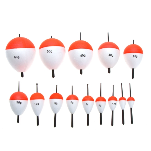 14Pcs flotadores de pesca pesca accesorios con palos