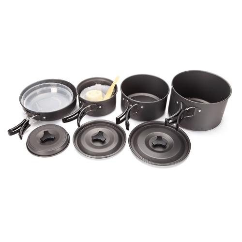 Lixada 4-5 Personen Kochen Set Aluminum beweglicher im Freien kampierender Cookware Wandern Picknick Antihaft Pfannen Schalen Platten