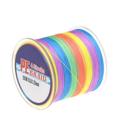 Linea di 500m 50lb colorato 4 fili multifilamento PE treccia pesca