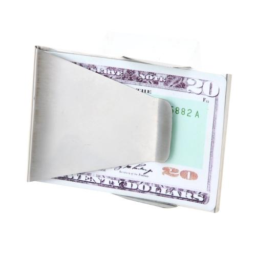 Delgado de acero inoxidable doble dinero efectivo Clip tarjeta DNI Portaclips