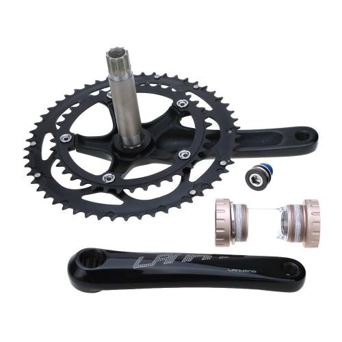 Camino para bicicleta CNC de aleación de aluminio 39-53T Dientes Chainwheel Crank Bielas Piñón Eje