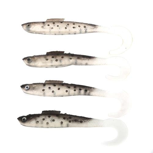 4pcs 12,5 cm 9g Curl cola cebos translúcido cebos blandos Señuelos de pesca