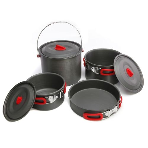 ALOCS all'aperto portatile Insieme di cottura/ set Pentole - con pentola Pan per campeggio e picnic, 9 pezzi