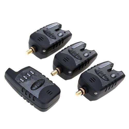 Lixada Conjunto de Alarma Pescar LED 3 Alarma de Mordedura + 1 Receptor en Funda Cremallera Alerta de Pesca Inalámbrica Digital