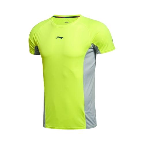 LI-NING funcionamiento serie rápido transpirable verano deportes usan los hombres camiseta de manga corta AHSK181