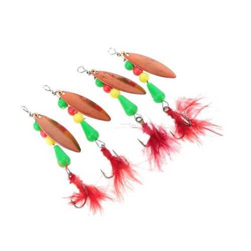 4Pcs 2.7g Spinner Bait Copper Sequin Paillette Bait with Feather Treble Hook