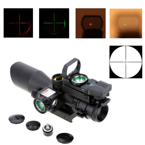2,5-10 x 40 Riflescope tattico illuminate con Laser rosso + lente Reflex staccabile verde Red Dot Sight Scope