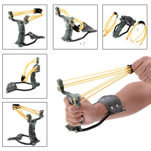 Adultos 2 bandas de goma plegable muñeca camuflaje Slingshot Catapult para juegos al aire libre
