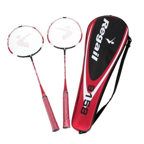 2Pcs Trainieren Badminton Federball Schläger mit Tragetasche Sport Ausrüstung langlebig Leicht