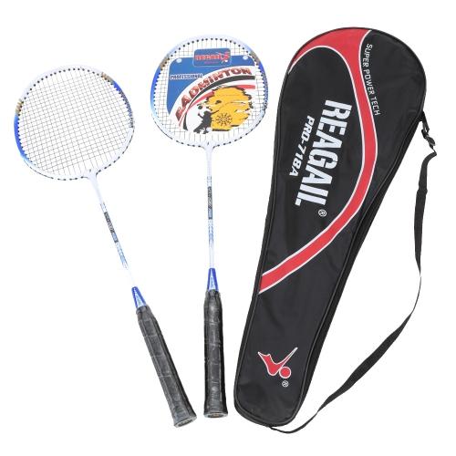 2Pcs Training Badminton Racket Racquet with Carry Bag Sport Equipment Durable Lightweight Aluminium Alloy