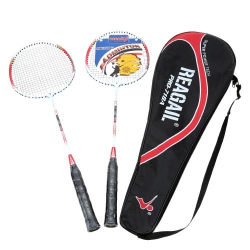 2pcs formazione Badminton racchetta racchetta con Carry Bag Sport attrezzature durevoli e leggeri in alluminio in lega