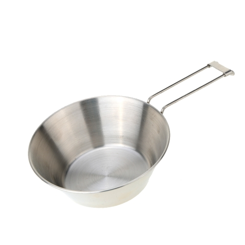 Stainless Steel Bowl with Foldable Handle Camping Tableware Portable Cookware Bowl