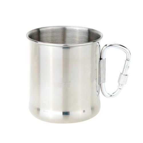 250ml Edelstahl Tasse mit Klappbar Selbst-schließen Karabiner Griff Klappbar Girff Tasse
