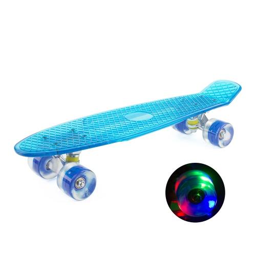 Donne uomini trasparente colorato lampeggiante ruota Cruiser Street Skateboard Skate