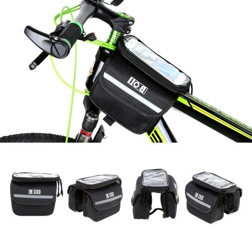 Outdoor Radfahren Handy Touch Bildschirm Tragkorb Fahrrad Vorne Rohr Tasche Doppel Größe