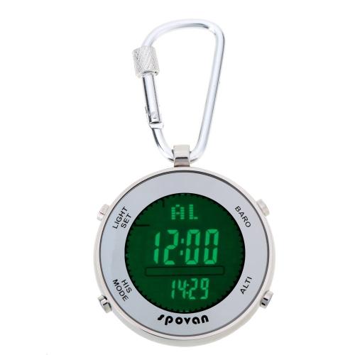 Многофункциональный Открытый Спорт Цифровые рыбацкие барометр карманные часы с крючка карабина & упругих каната