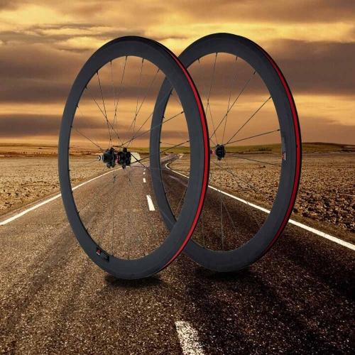 3K carbono Matt 700 C carretera bicicleta bicicleta ruedas 50mm Clincher borde + radios + Hub + rápido lanzamiento palanca pinchos + pastillas de freno
