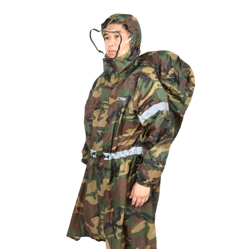 ブルーフィールドのバックパックカバーワンピースのレインコート ポンチョ レインケープ アウトドア  ハイキング/キャンプ用のレインギア ユニセックス