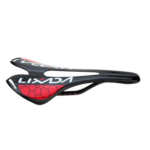 Lixada Black Glossy Full Carbon Fiber Super Lightweight MTB Mountain Bike Road Bike Cycling Hollow Saddle Bicycle Seat 275*143mm 120g Image